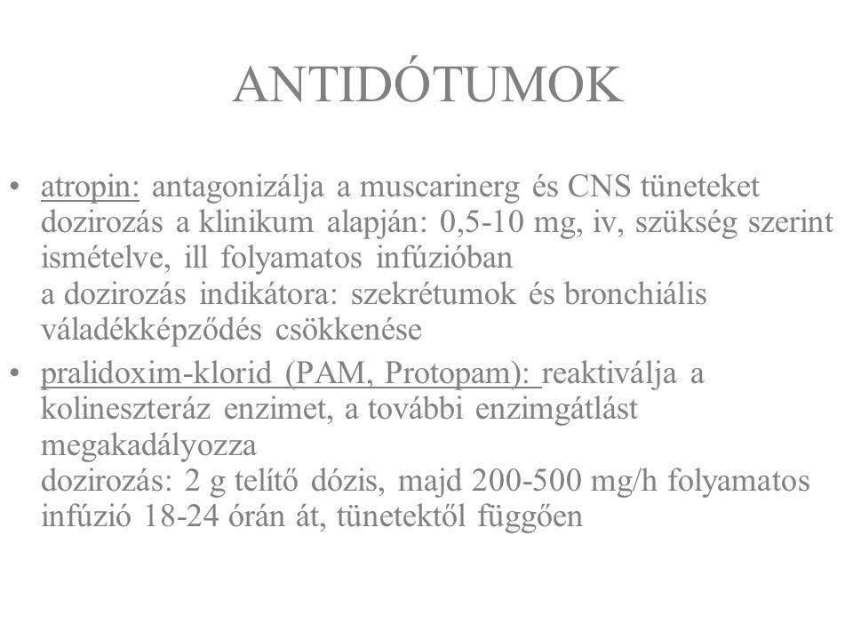 ANTIDÓTUMOK atropin: antagonizálja a muscarinerg és CNS tüneteket dozirozás a klinikum alapján: 0,5-10 mg, iv, szükség szerint ismételve, ill folyamat