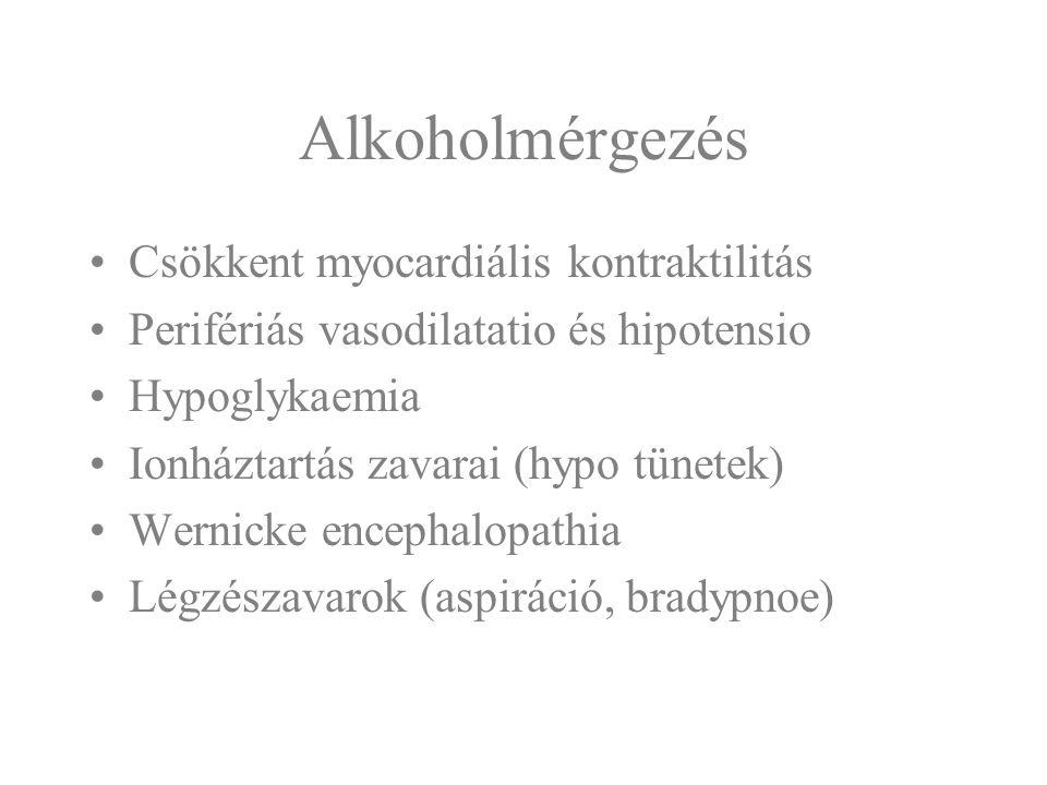 Alkoholmérgezés Csökkent myocardiális kontraktilitás Perifériás vasodilatatio és hipotensio Hypoglykaemia Ionháztartás zavarai (hypo tünetek) Wernicke