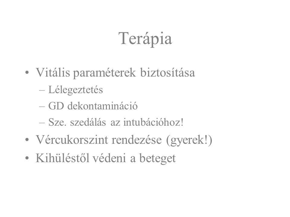 Terápia Vitális paraméterek biztosítása –Lélegeztetés –GD dekontamináció –Sze. szedálás az intubációhoz! Vércukorszint rendezése (gyerek!) Kihüléstől