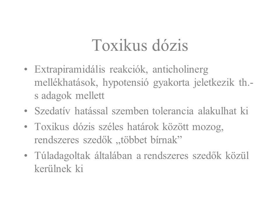 Toxikus dózis Extrapiramidális reakciók, anticholinerg mellékhatások, hypotensió gyakorta jeletkezik th.- s adagok mellett Szedatív hatással szemben t