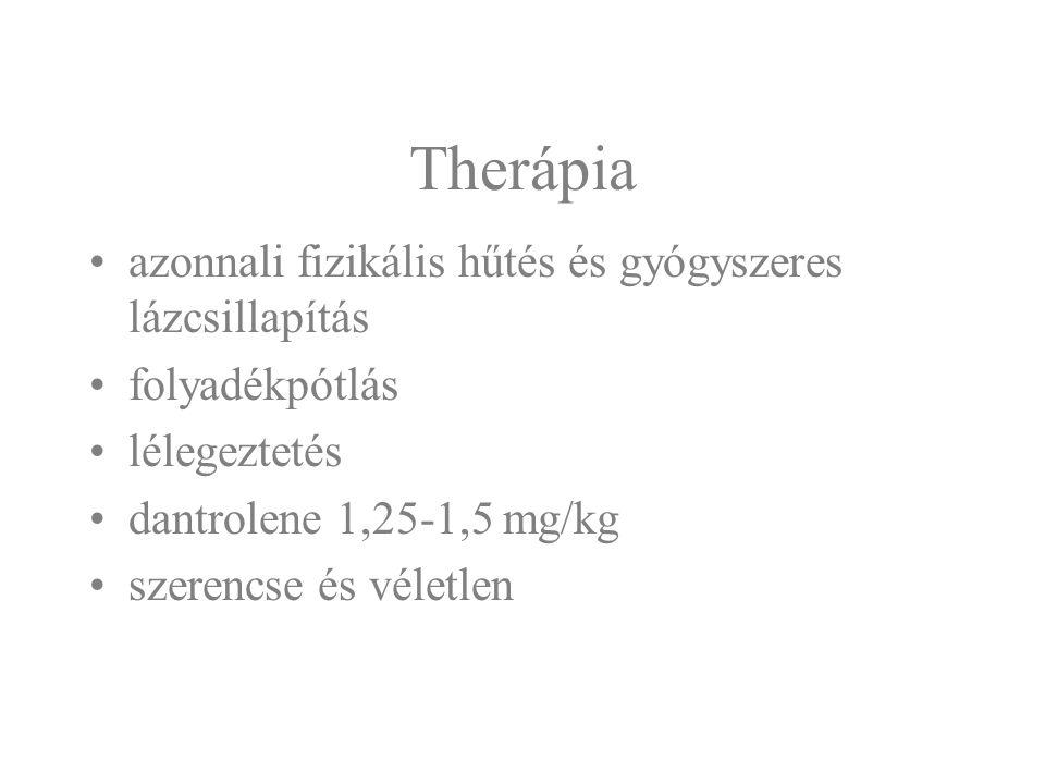 Therápia azonnali fizikális hűtés és gyógyszeres lázcsillapítás folyadékpótlás lélegeztetés dantrolene 1,25-1,5 mg/kg szerencse és véletlen