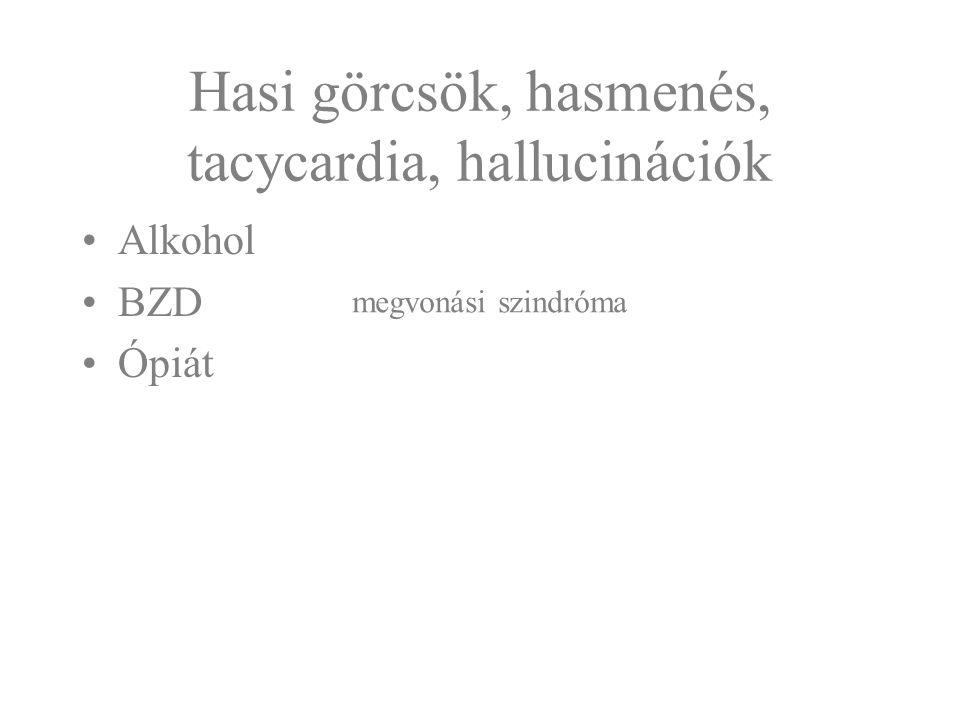 Hasi görcsök, hasmenés, tacycardia, hallucinációk Alkohol BZD Ópiát megvonási szindróma