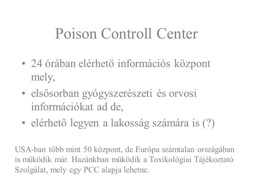 Poison Controll Center 24 órában elérhető információs központ mely, elsősorban gyógyszerészeti és orvosi információkat ad de, elérhető legyen a lakoss