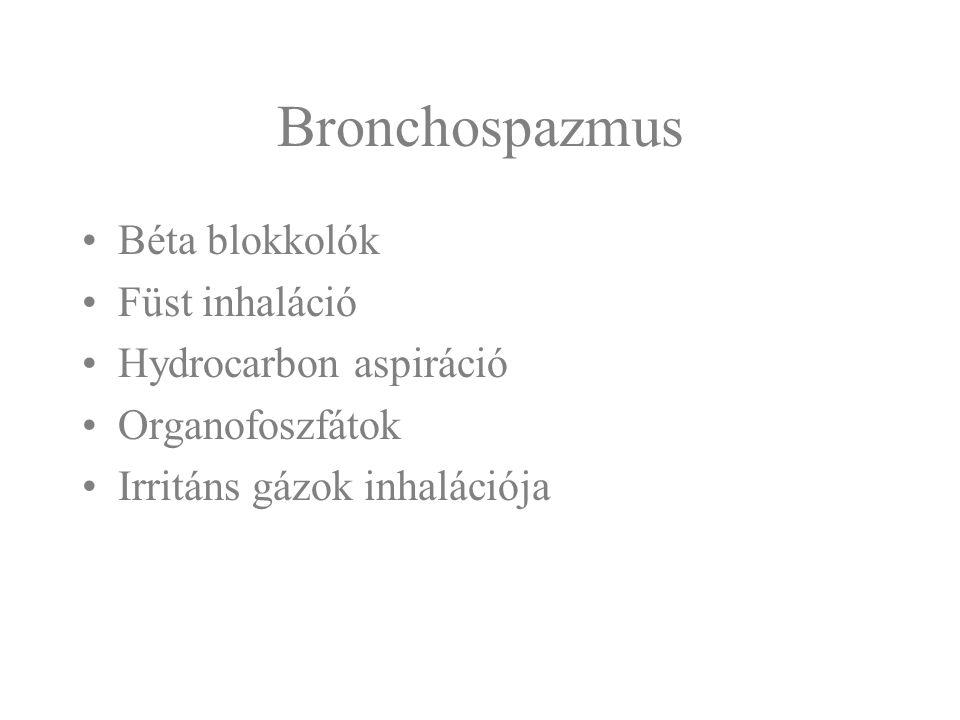 Bronchospazmus Béta blokkolók Füst inhaláció Hydrocarbon aspiráció Organofoszfátok Irritáns gázok inhalációja