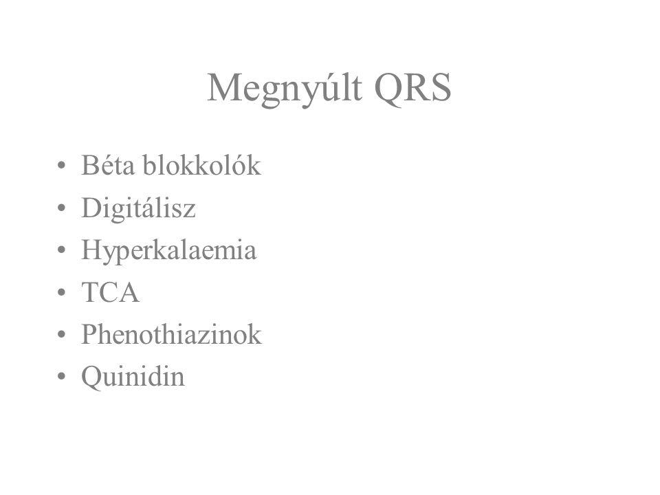 Megnyúlt QRS Béta blokkolók Digitálisz Hyperkalaemia TCA Phenothiazinok Quinidin