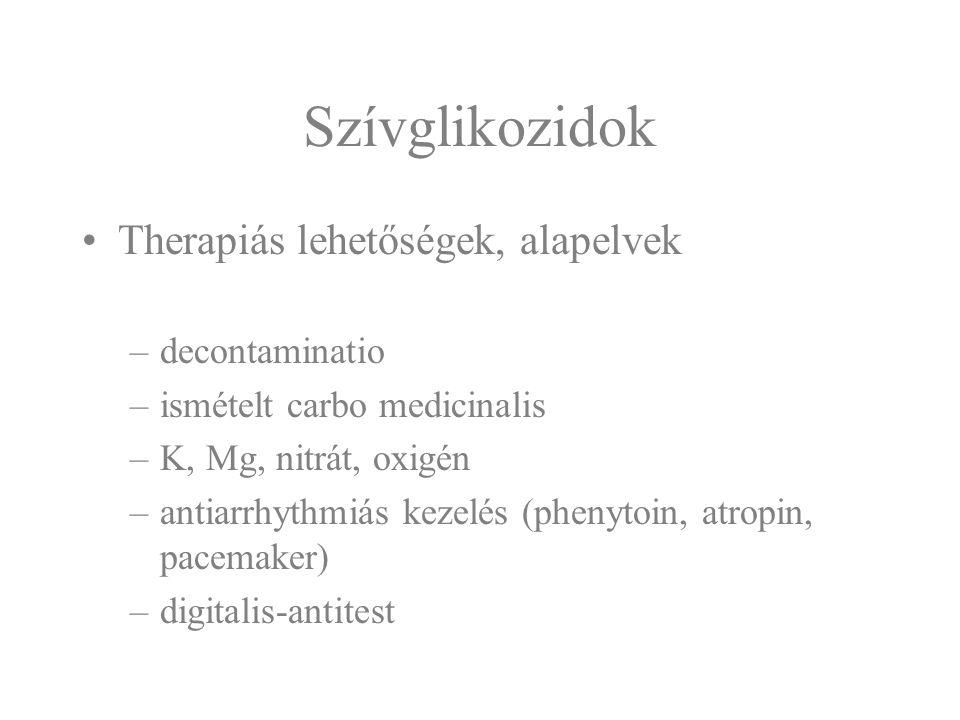 Szívglikozidok Therapiás lehetőségek, alapelvek –decontaminatio –ismételt carbo medicinalis –K, Mg, nitrát, oxigén –antiarrhythmiás kezelés (phenytoin