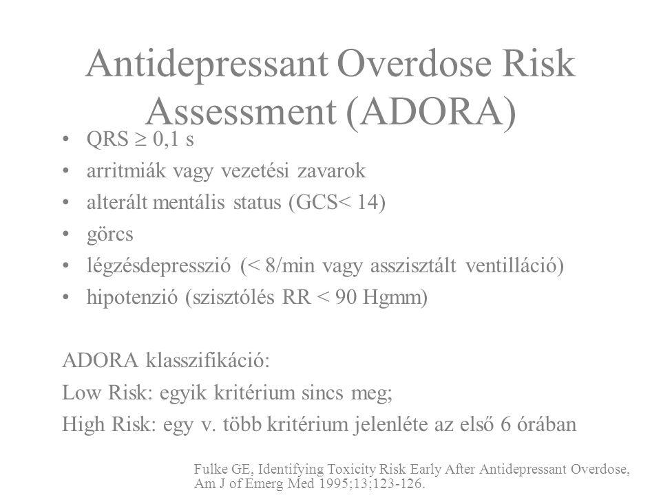 Antidepressant Overdose Risk Assessment (ADORA) QRS  0,1 s arritmiák vagy vezetési zavarok alterált mentális status (GCS< 14) görcs légzésdepresszió