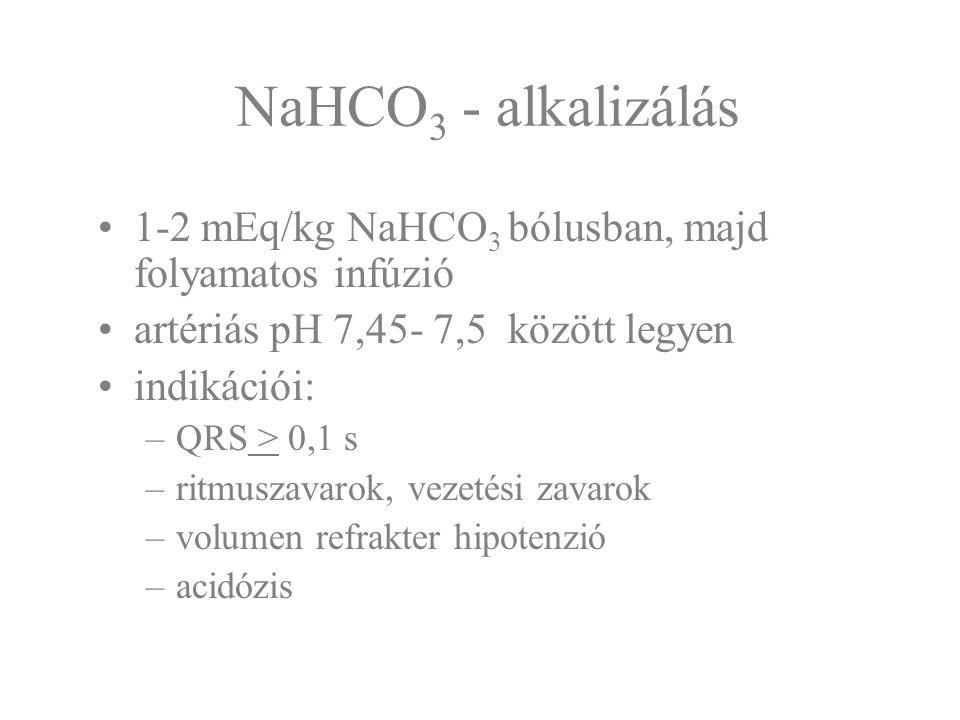 NaHCO 3 - alkalizálás 1-2 mEq/kg NaHCO 3 bólusban, majd folyamatos infúzió artériás pH 7,45- 7,5 között legyen indikációi: –QRS > 0,1 s –ritmuszavarok