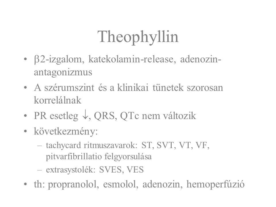 Theophyllin  2-izgalom, katekolamin-release, adenozin- antagonizmus A szérumszint és a klinikai tünetek szorosan korrelálnak PR esetleg , QRS, QTc n