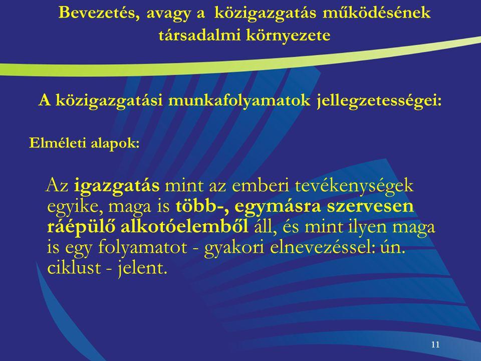 11 Bevezetés, avagy a közigazgatás működésének társadalmi környezete A közigazgatási munkafolyamatok jellegzetességei: Elméleti alapok: Az igazgatás m