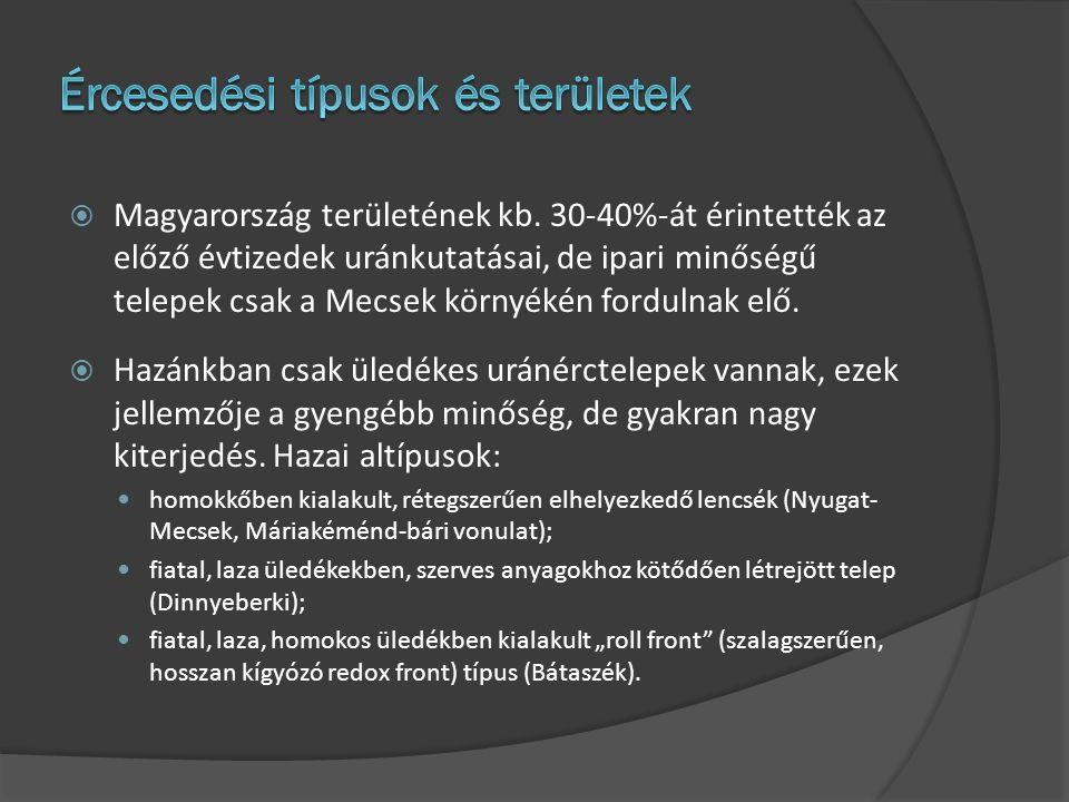  Magyarország területének kb. 30-40%-át érintették az előző évtizedek uránkutatásai, de ipari minőségű telepek csak a Mecsek környékén fordulnak elő.