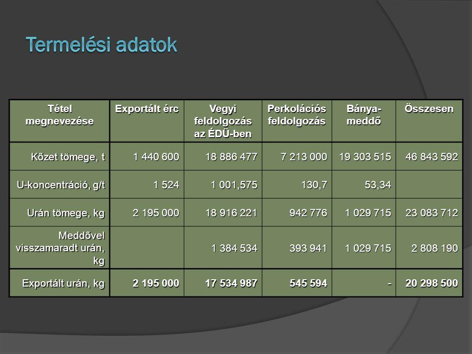 Tétel megnevezése Exportált érc Vegyi feldolgozás az ÉDÜ-ben Perkolációs feldolgozás Bánya- meddő Összesen Kőzet tömege, t 1 440 600 18 886 477 7 213