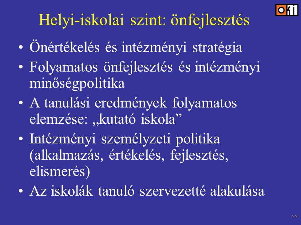 """Helyi-iskolai szint: önfejlesztés Önértékelés és intézményi stratégia Folyamatos önfejlesztés és intézményi minőségpolitika A tanulási eredmények folyamatos elemzése: """"kutató iskola Intézményi személyzeti politika (alkalmazás, értékelés, fejlesztés, elismerés) Az iskolák tanuló szervezetté alakulása >>"""
