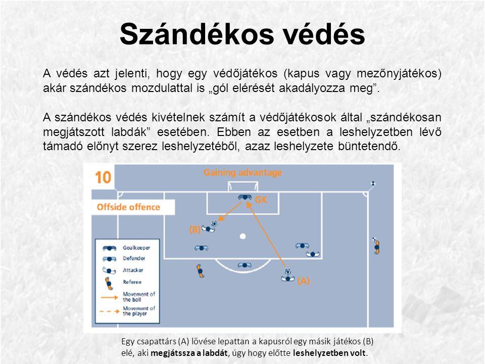 """Szándékos védés A védés azt jelenti, hogy egy védőjátékos (kapus vagy mezőnyjátékos) akár szándékos mozdulattal is """"gól elérését akadályozza meg ."""