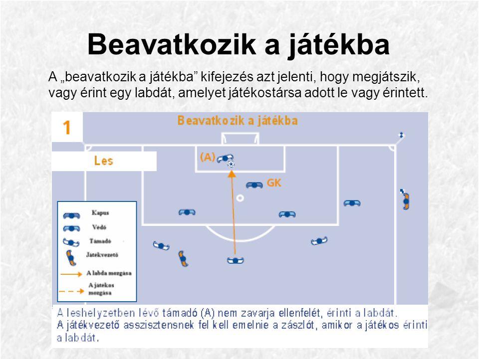 """A """"beavatkozik a játékba kifejezés azt jelenti, hogy megjátszik, vagy érint egy labdát, amelyet játékostársa adott le vagy érintett."""