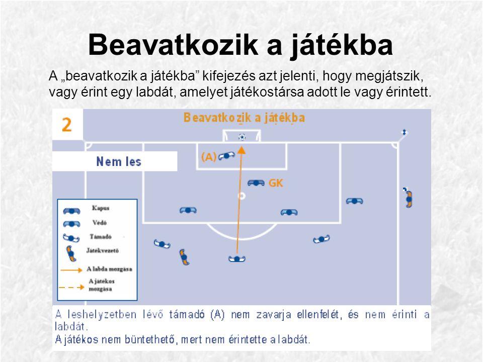"""Beavatkozik a játékba A """"beavatkozik a játékba kifejezés azt jelenti, hogy megjátszik, vagy érint egy labdát, amelyet játékostársa adott le vagy érintett."""