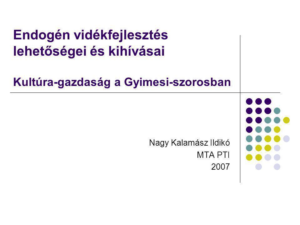Endogén fejlesztés Regionalizmus, regionalizáció EU vidékfejlesztési politkája Posztmodern fogyasztói magatartás