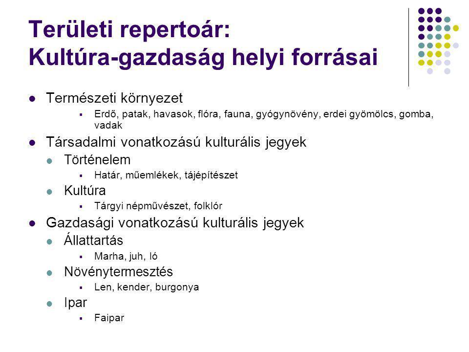Kutatási eredmények Tisztán megfogalmazott területi repertoár Kultúra-gazdaság 1.