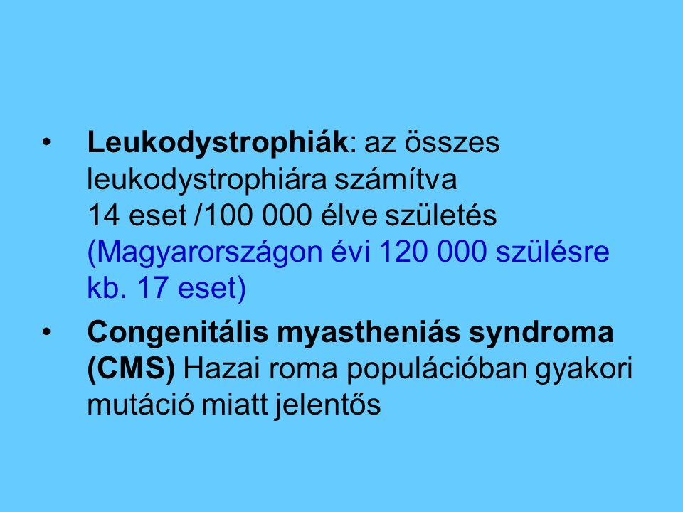 Leukodystrophiák: az összes leukodystrophiára számítva 14 eset /100 000 élve születés (Magyarországon évi 120 000 szülésre kb. 17 eset) Congenitális m