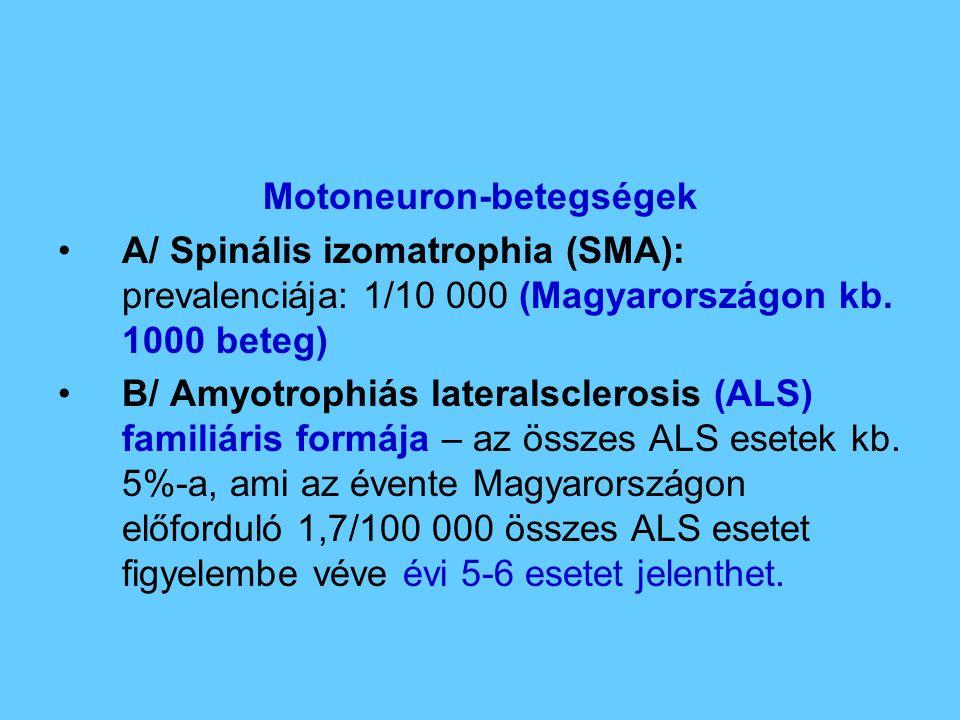 Motoneuron-betegségek A/ Spinális izomatrophia (SMA): prevalenciája: 1/10 000 (Magyarországon kb. 1000 beteg) B/ Amyotrophiás lateralsclerosis (ALS) f