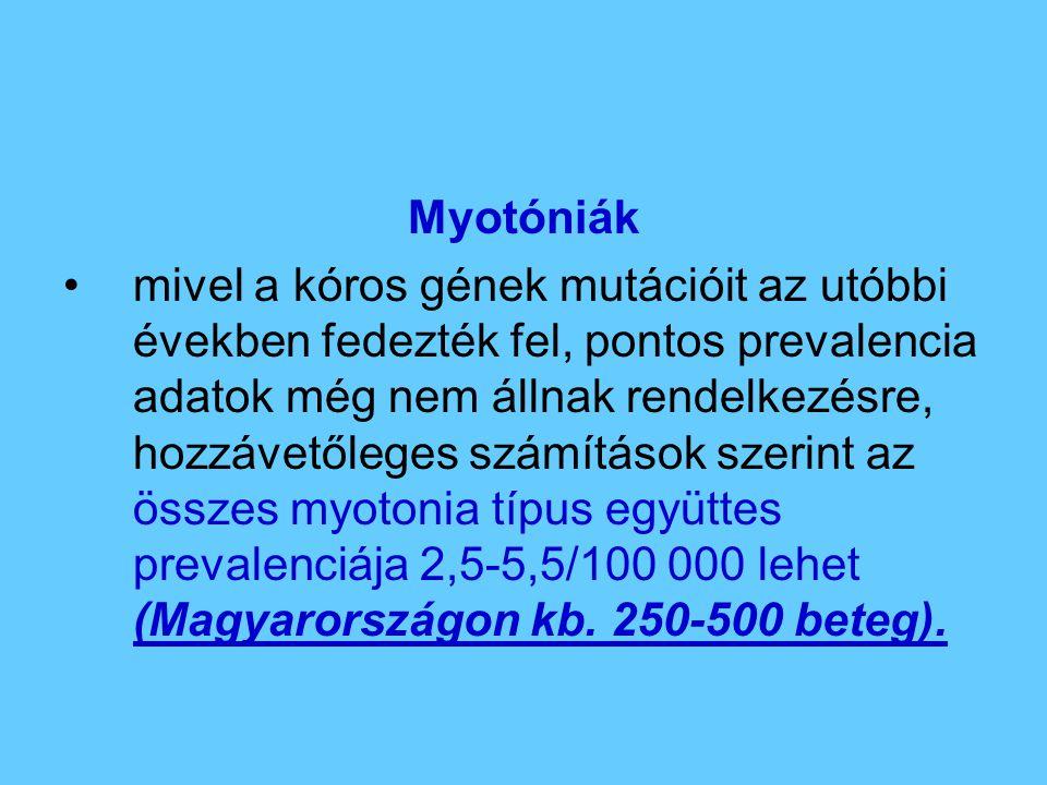 Myotóniák mivel a kóros gének mutációit az utóbbi években fedezték fel, pontos prevalencia adatok még nem állnak rendelkezésre, hozzávetőleges számítá