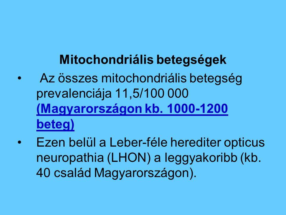 Mitochondriális betegségek Az összes mitochondriális betegség prevalenciája 11,5/100 000 (Magyarországon kb. 1000-1200 beteg) Ezen belül a Leber-féle