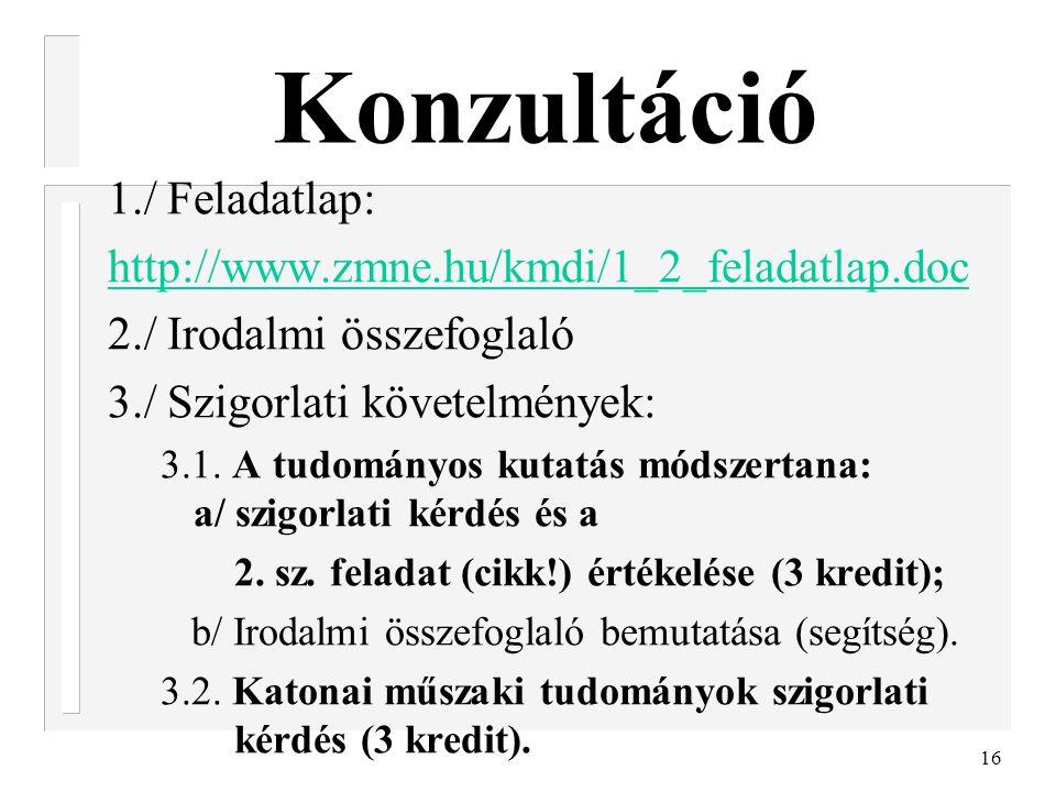 16 Konzultáció 1./ Feladatlap: http://www.zmne.hu/kmdi/1_2_feladatlap.doc 2./ Irodalmi összefoglaló 3./ Szigorlati követelmények: 3.1. A tudományos ku