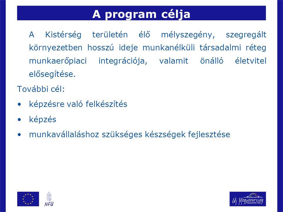 A program bemutatása Az elnyert támogatás összege: 69.660.000 Ft Programban résztvevők létszáma: 60 fő Az indított képzések: zöldségtermesztő (18 fő) erdőművelő (42 fő) Megvalósítás helyszínei: Komló 12 fő Szászvár 18 fő Hosszúhetény 12 fő Magyarhertelend 18 fő