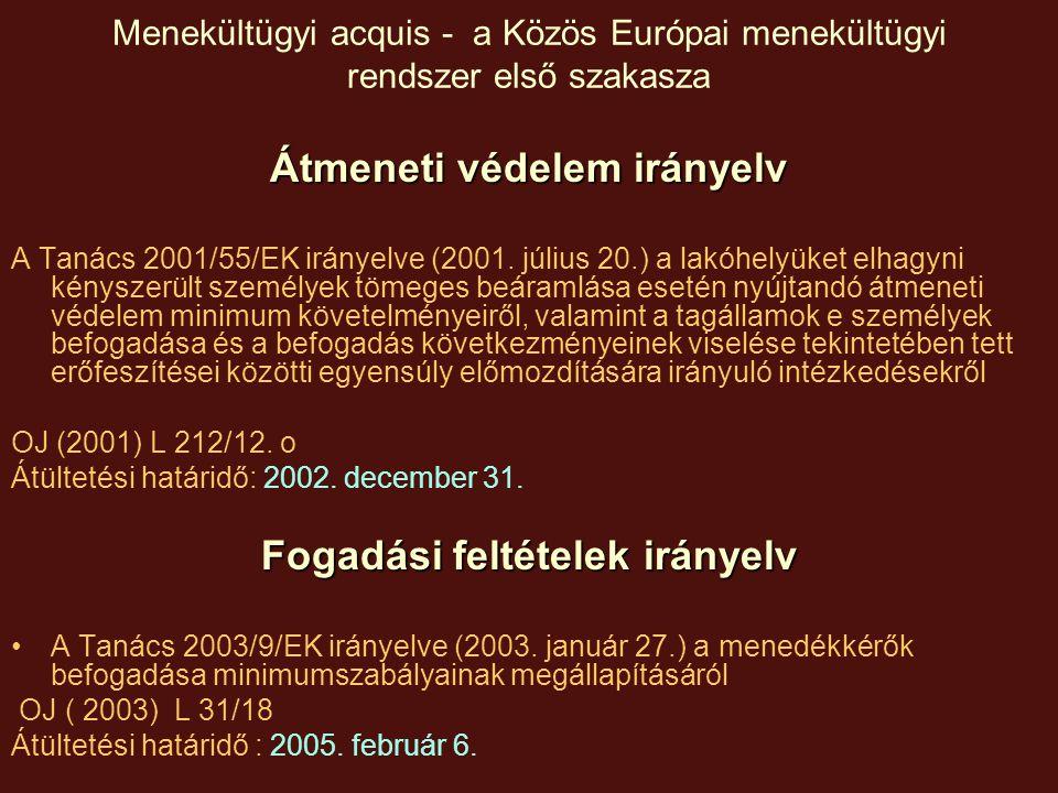 Menekültügyi acquis - a Közös Európai menekültügyi rendszer első szakasza Kvalifikációs irányelv (definíciós irányelv) A Tanács 2004/83/EK (20004.