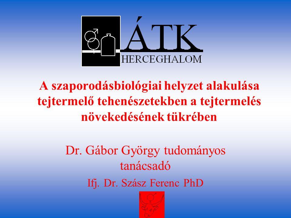 A szaporodásbiológiai helyzet alakulása tejtermelő tehenészetekben a tejtermelés növekedésének tükrében Dr. Gábor György tudományos tanácsadó Ifj. Dr.