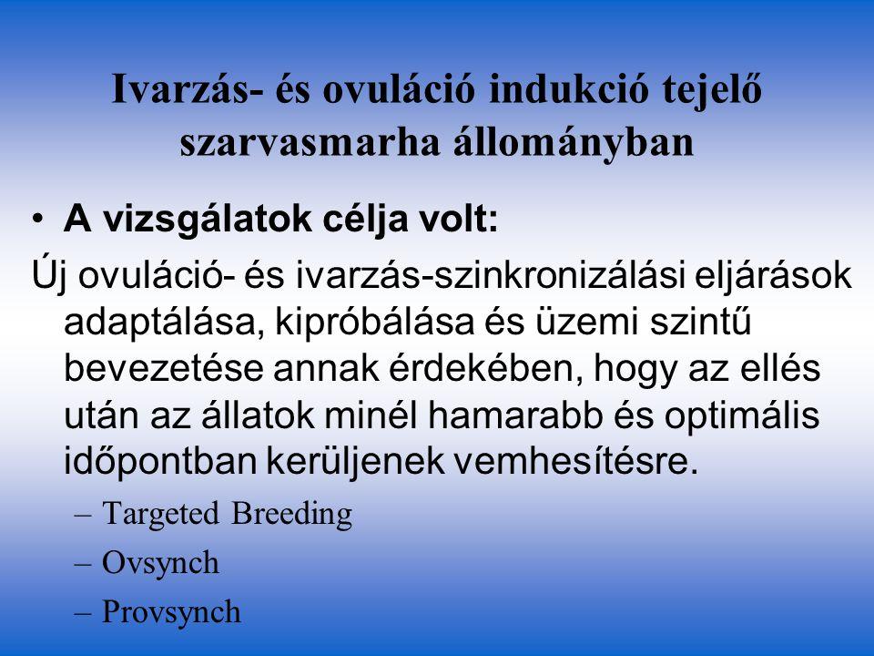 Ivarzás- és ovuláció indukció tejelő szarvasmarha állományban A vizsgálatok célja volt: Új ovuláció- és ivarzás-szinkronizálási eljárások adaptálása,