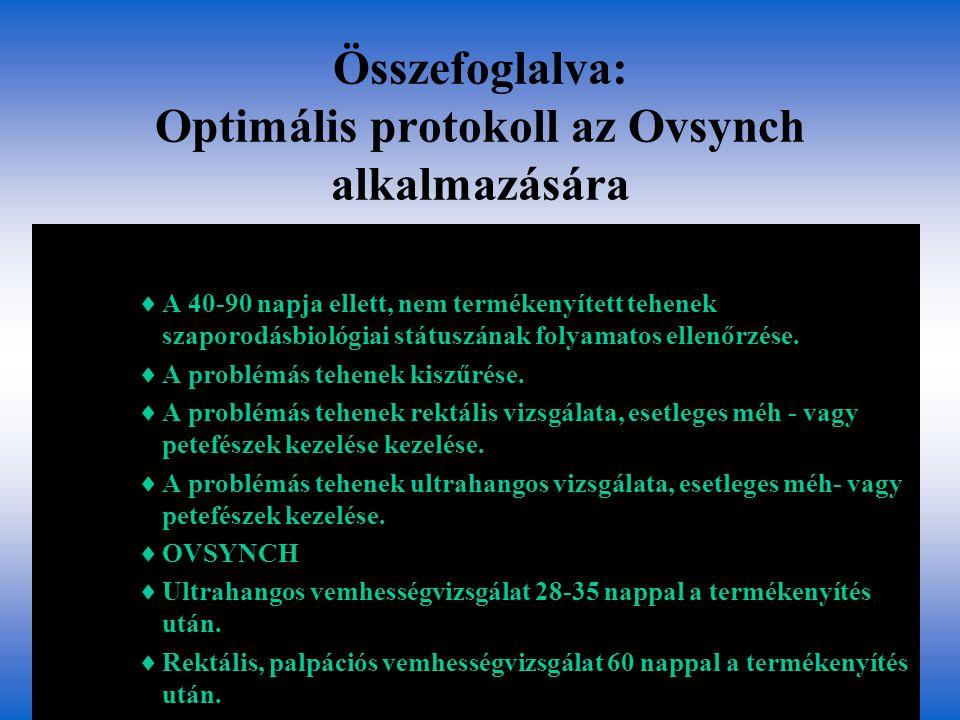 Összefoglalva: Optimális protokoll az Ovsynch alkalmazására  A 40-90 napja ellett, nem termékenyített tehenek szaporodásbiológiai státuszának folyama