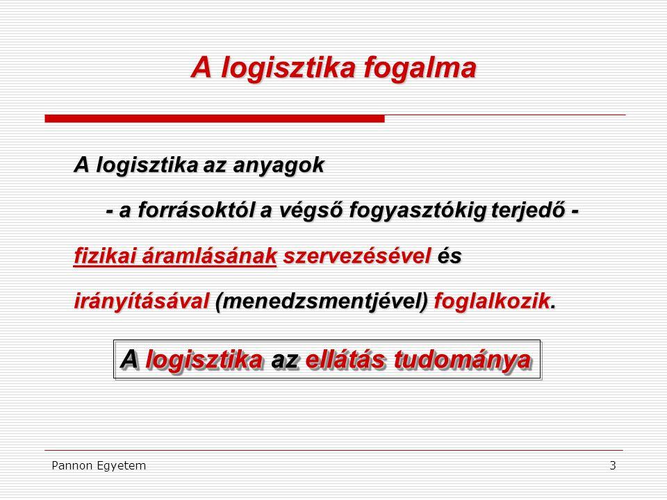 Pannon Egyetem3 A logisztika fogalma A logisztika az anyagok - a forrásoktól a végső fogyasztókig terjedő - fizikai áramlásának szervezésével és irányításával (menedzsmentjével) foglalkozik.