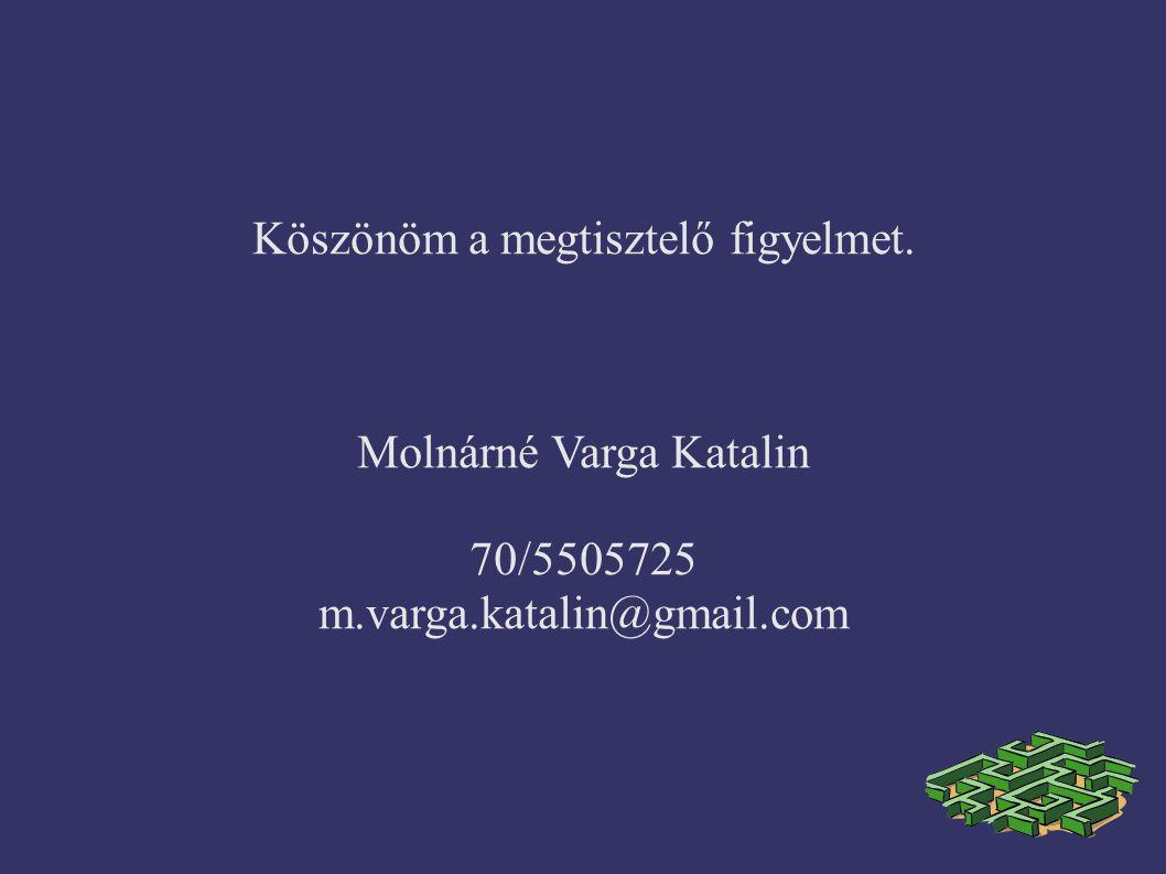 Köszönöm a megtisztelő figyelmet. Molnárné Varga Katalin 70/5505725 m.varga.katalin@gmail.com