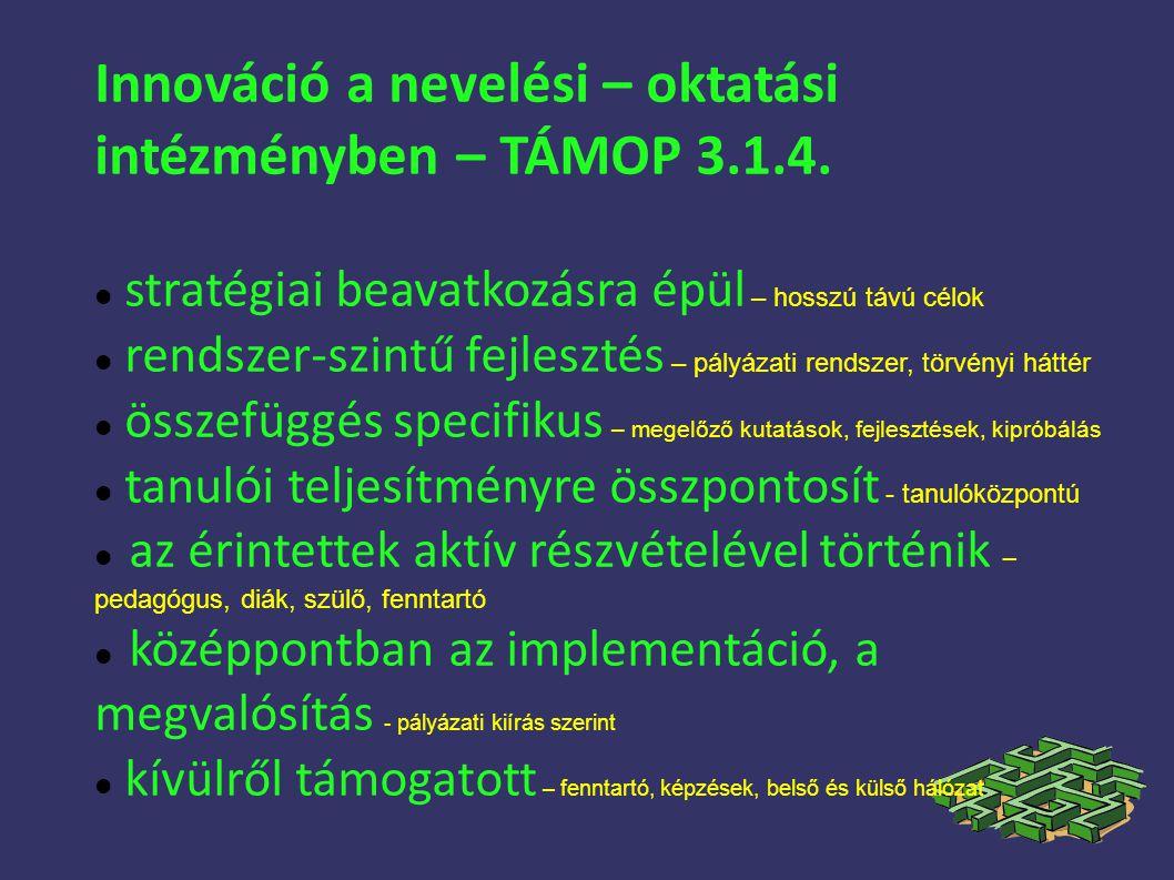 Innováció a nevelési – oktatási intézményben – TÁMOP 3.1.4.