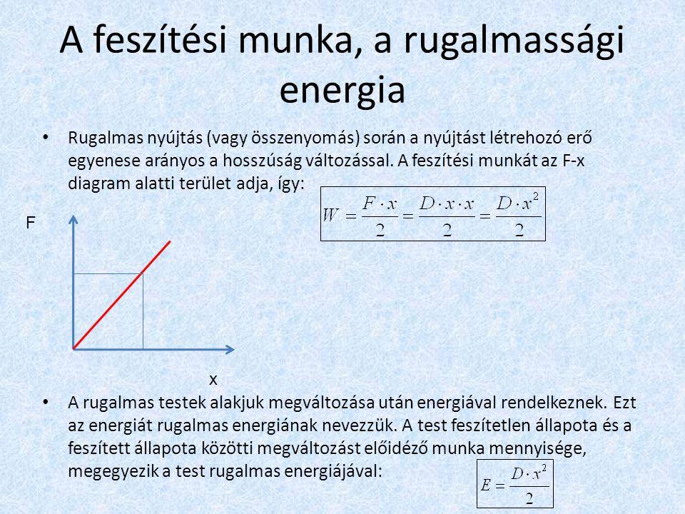 A feszítési munka, a rugalmassági energia Rugalmas nyújtás (vagy összenyomás) során a nyújtást létrehozó erő egyenese arányos a hosszúság változással.