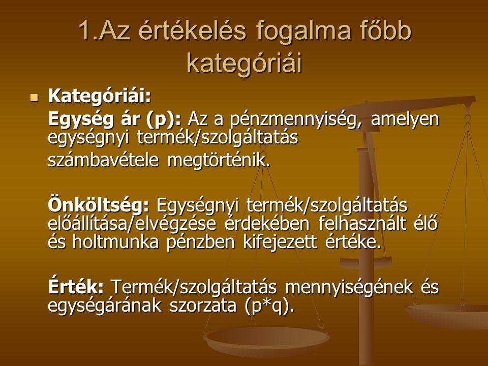 1.Az értékelés fogalma főbb kategóriái Kategóriái: Kategóriái: Egység ár (p): Az a pénzmennyiség, amelyen egységnyi termék/szolgáltatás számbavétele m