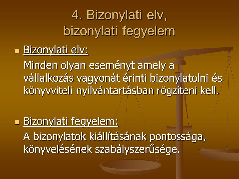 4. Bizonylati elv, bizonylati fegyelem Bizonylati elv: Bizonylati elv: Minden olyan eseményt amely a vállalkozás vagyonát érinti bizonylatolni és köny