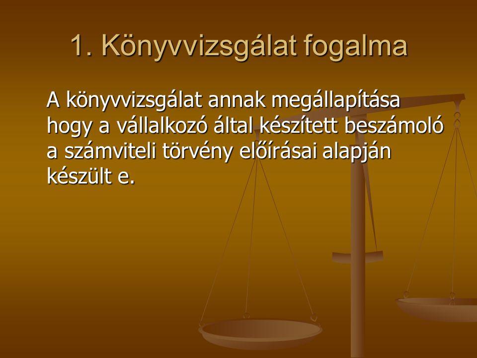 1. Könyvvizsgálat fogalma A könyvvizsgálat annak megállapítása hogy a vállalkozó által készített beszámoló a számviteli törvény előírásai alapján kész