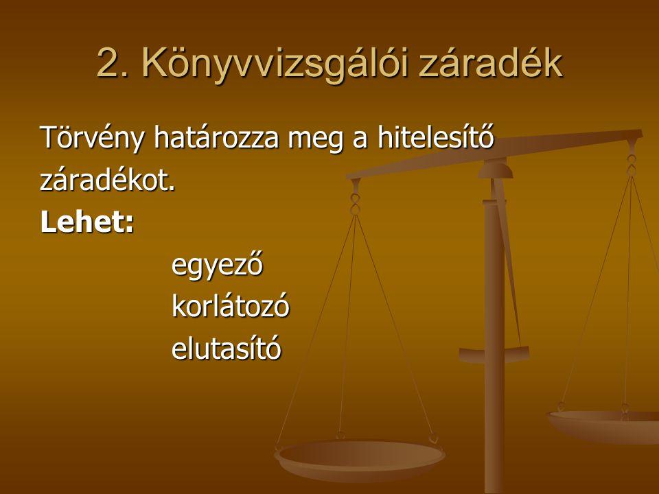 2. Könyvvizsgálói záradék Törvény határozza meg a hitelesítő záradékot.Lehet:egyezőkorlátozóelutasító