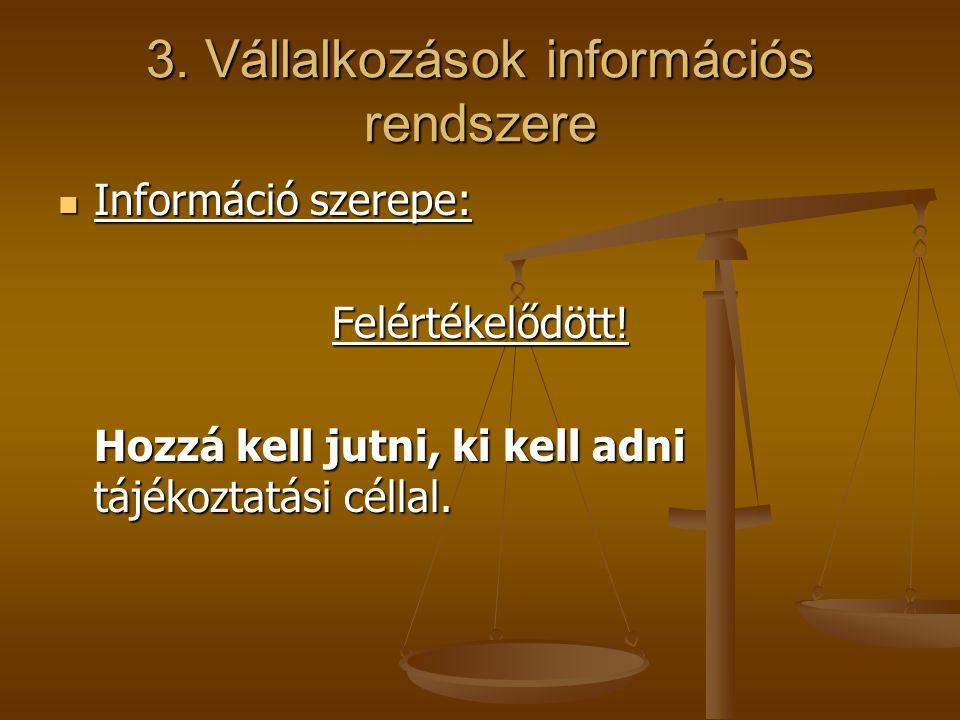 3. Vállalkozások információs rendszere Információ szerepe: Információ szerepe:Felértékelődött! Hozzá kell jutni, ki kell adni tájékoztatási céllal.