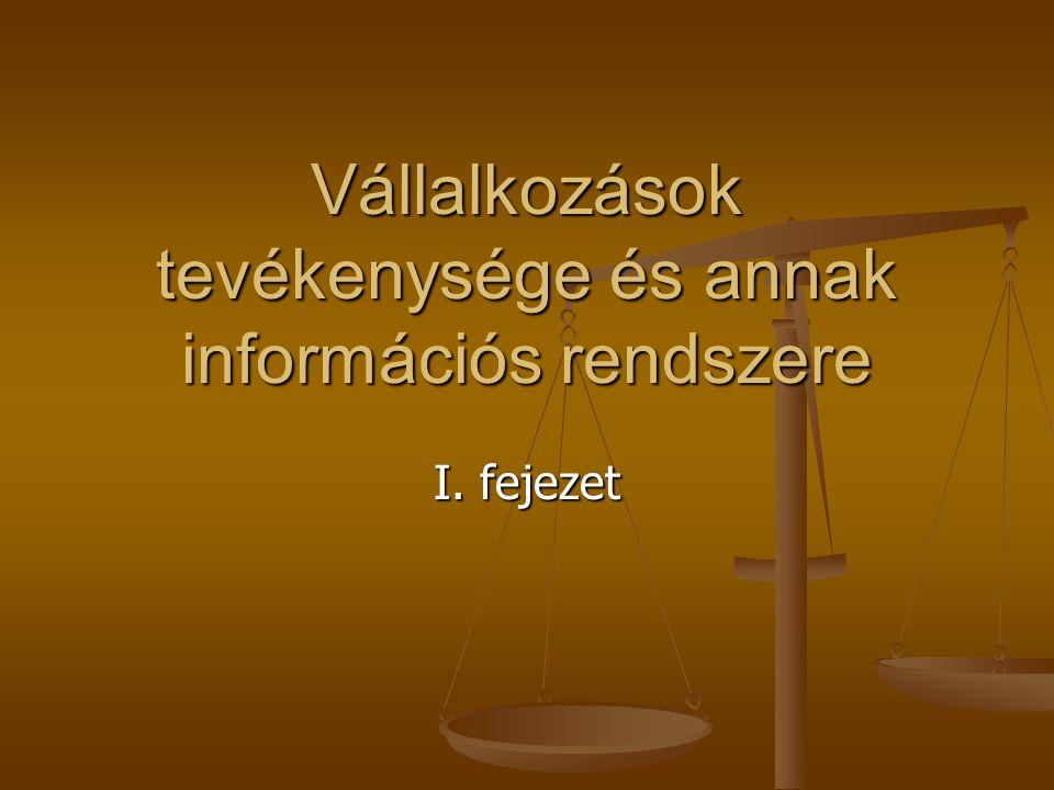 Vállalkozások tevékenysége és annak információs rendszere I. fejezet