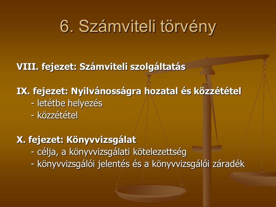 6. Számviteli törvény VIII. fejezet: Számviteli szolgáltatás IX. fejezet: Nyilvánosságra hozatal és közzététel - letétbe helyezés - letétbe helyezés -