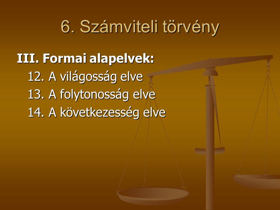 6. Számviteli törvény III. Formai alapelvek: 12. A világosság elve 13. A folytonosság elve 14. A következesség elve