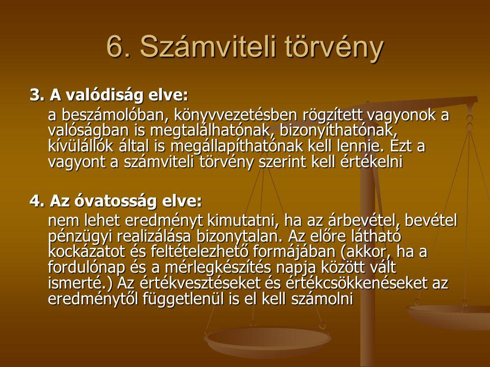 6. Számviteli törvény 3. A valódiság elve: a beszámolóban, könyvvezetésben rögzített vagyonok a valóságban is megtalálhatónak, bizonyíthatónak, kívülá