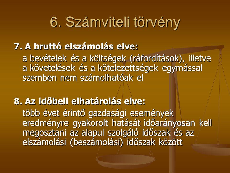 6. Számviteli törvény 7. A bruttó elszámolás elve: a bevételek és a költségek (ráfordítások), illetve a követelések és a kötelezettségek egymással sze