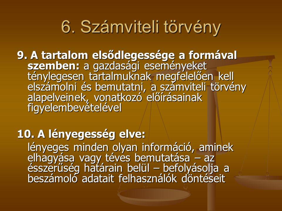 6. Számviteli törvény 9. A tartalom elsődlegessége a formával szemben: a gazdasági eseményeket ténylegesen tartalmuknak megfelelően kell elszámolni és