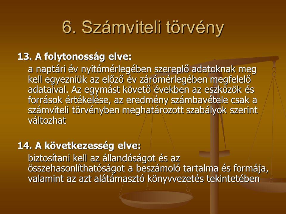 6. Számviteli törvény 13. A folytonosság elve: a naptári év nyitómérlegében szereplő adatoknak meg kell egyezniük az előző év zárómérlegében megfelelő