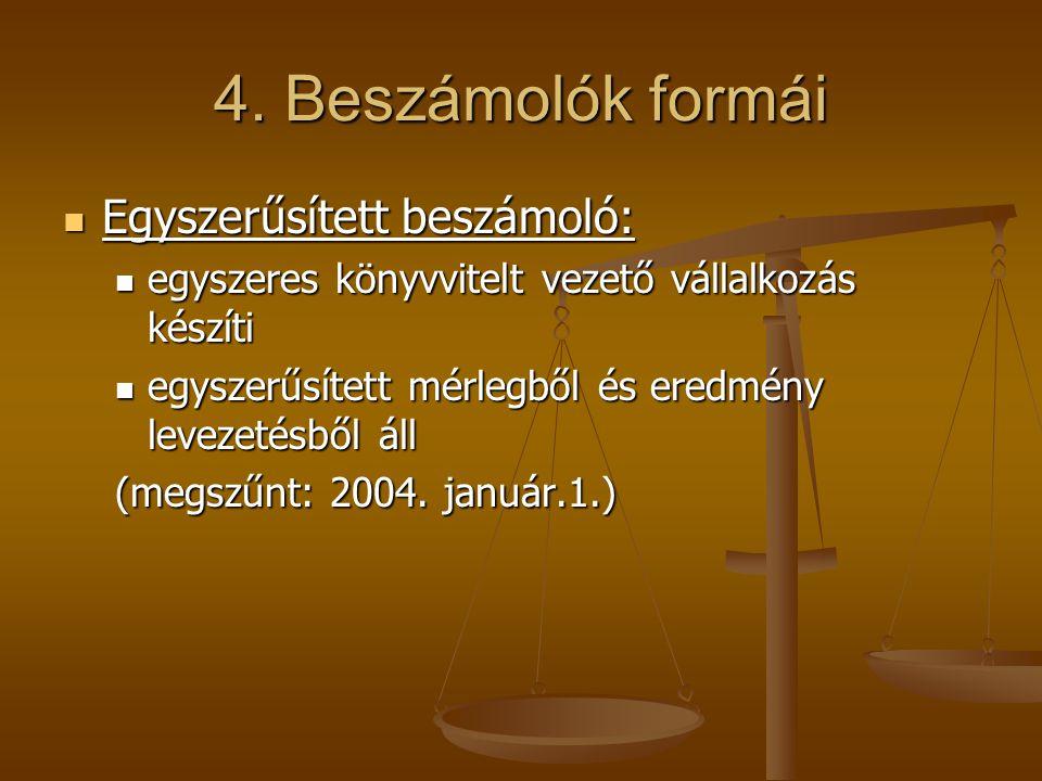 4. Beszámolók formái Egyszerűsített beszámoló: Egyszerűsített beszámoló: egyszeres könyvvitelt vezető vállalkozás készíti egyszeres könyvvitelt vezető