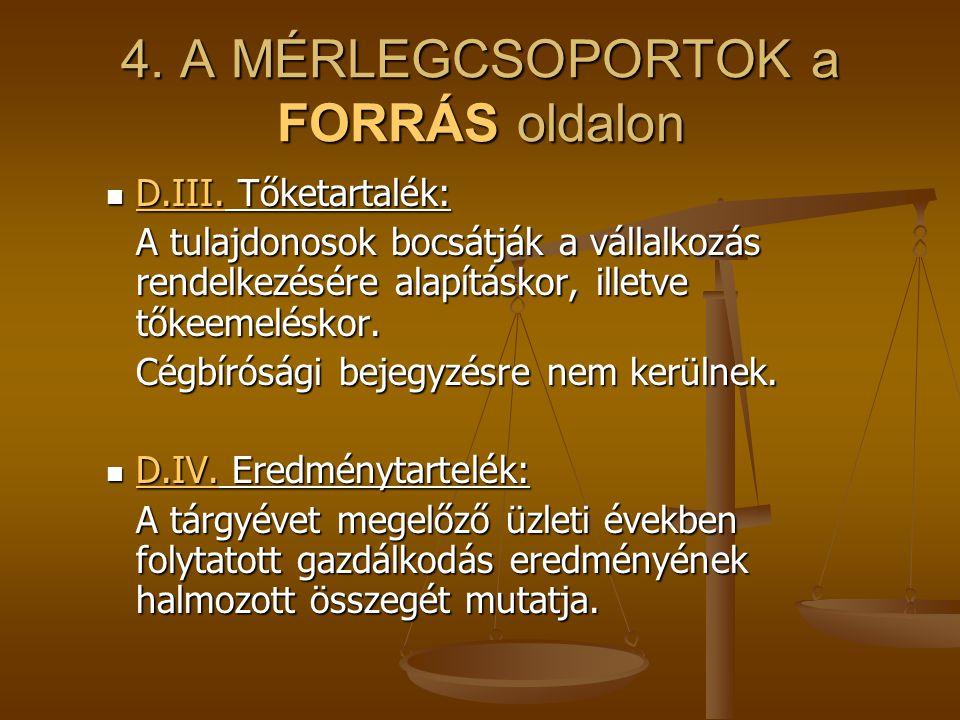 4. A MÉRLEGCSOPORTOK a FORRÁS oldalon D.III. Tőketartalék: D.III. Tőketartalék: A tulajdonosok bocsátják a vállalkozás rendelkezésére alapításkor, ill